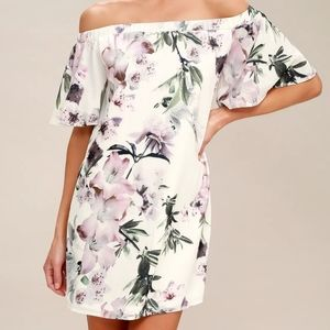 Lulus Floral Print Off the Shoulder Shift Dress
